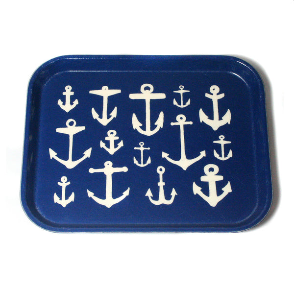 "Nautical ""Anchors Away"" Tray, eight by ten inches, fiberglass"