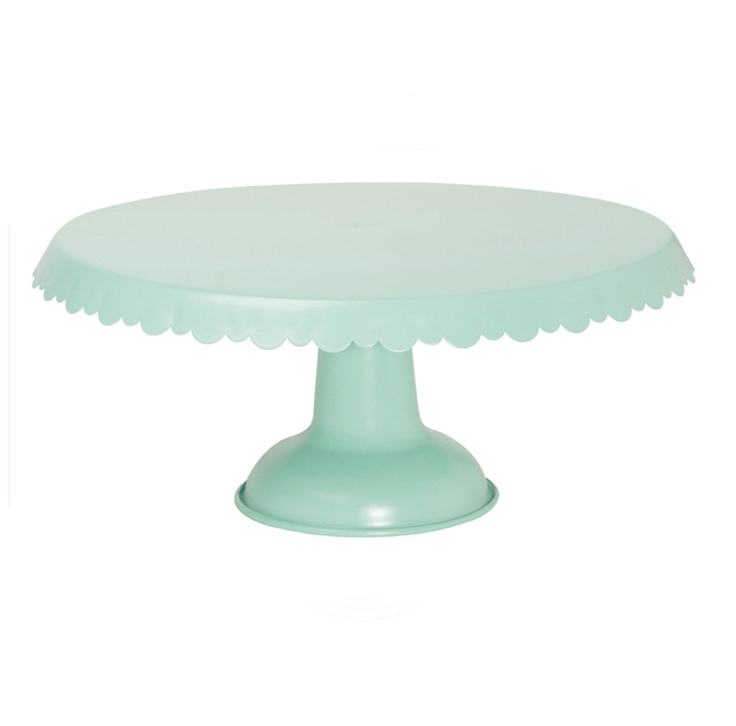 Mint, Scalloped Edge, Tin Cake Stand green
