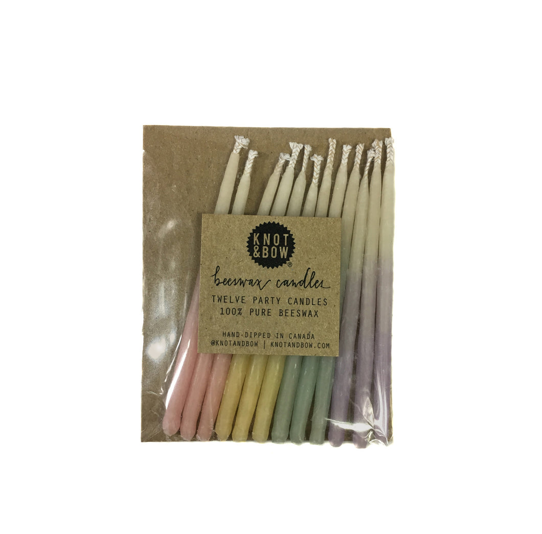 Ombre Pastel Celebration Candles, three inch-twelve per package