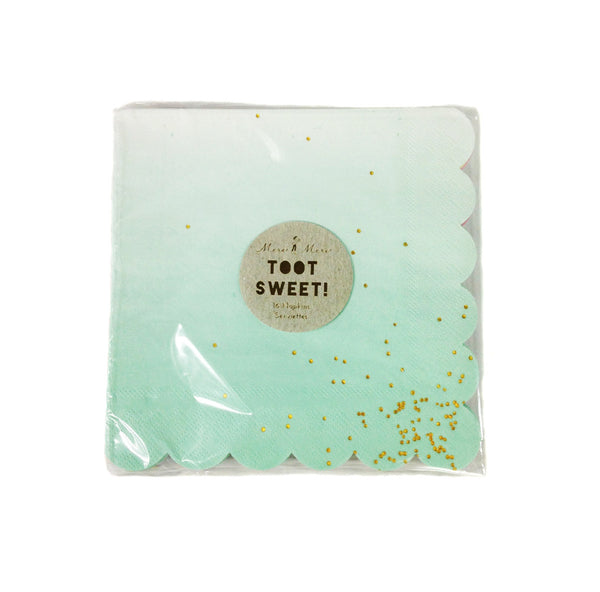 Square, Scalloped Edge Napkins (Mint, Pink, Blue & Yellow included in pkg.), sixteen per package green