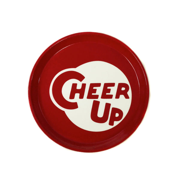"Fiberglass ""Cheer Up"" Serving Tray, ten inches"