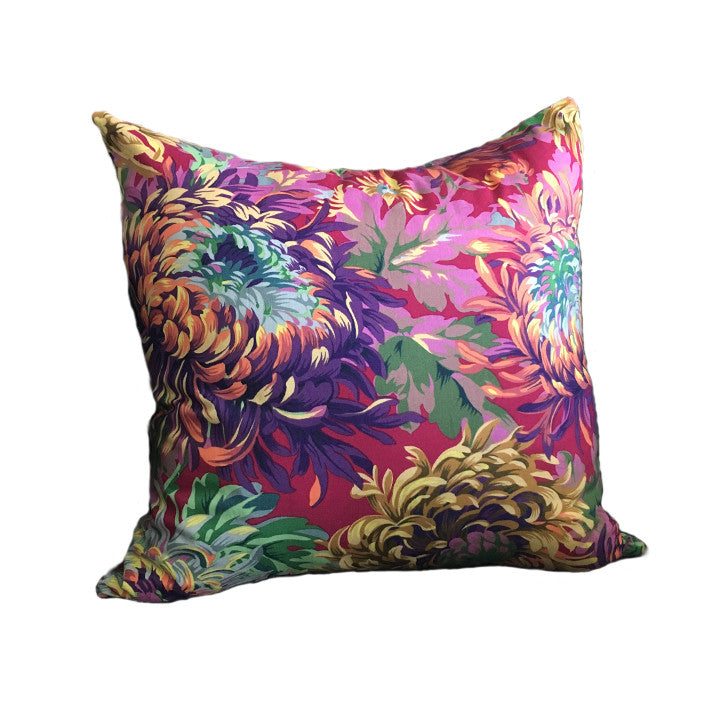 Throw Pillow, Warm Floral, 16 x 16 inches, Faux-down Insert