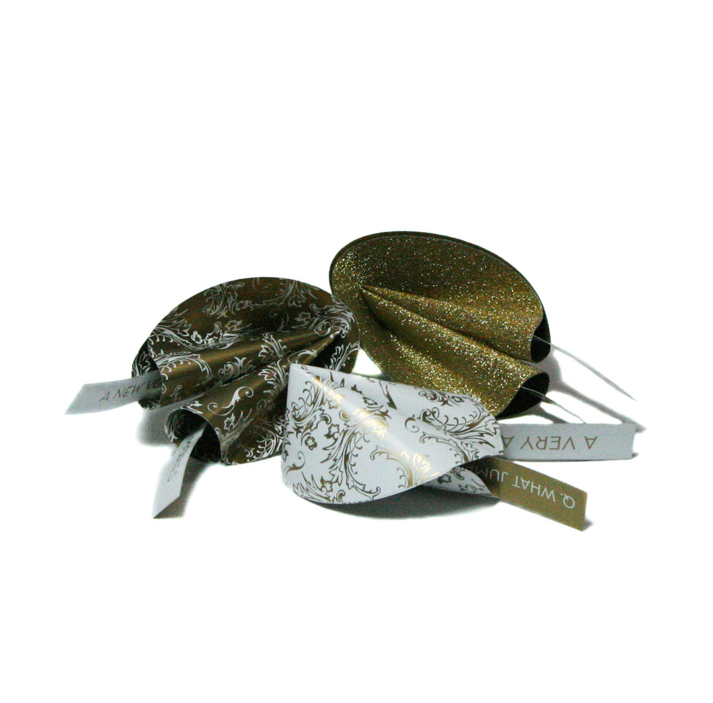 Metallic Paper Fortune Cookies-twelve per box