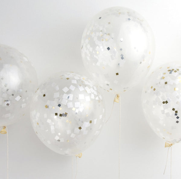 Metallic Confetti Balloons-twelve in a package, eleven inches