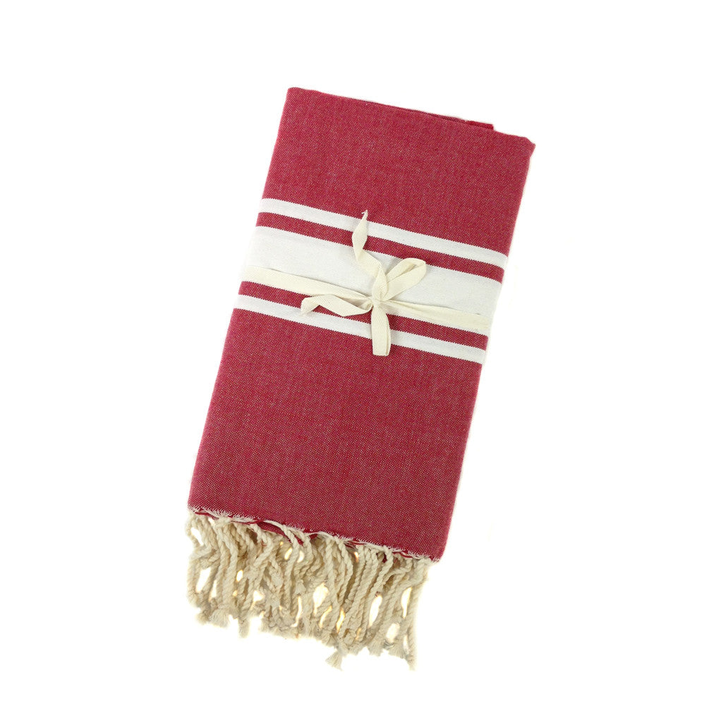 Fouta, Red and White  (Mediterrian Blanket/Cloth)