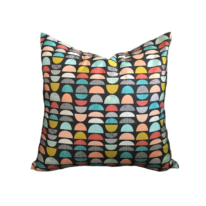 Throw Pillow, Retro-Geometric, 16 x 16 inches, Handmade Cotton Cover, Faux-Down Insert