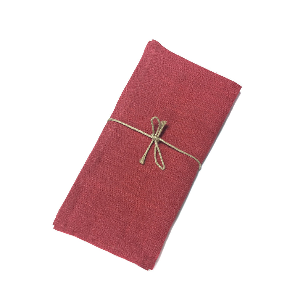 Red Linen Napkins-two