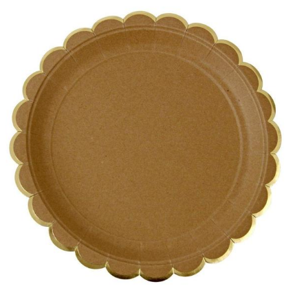 Kraft and Gold Scalloped Edge Plates