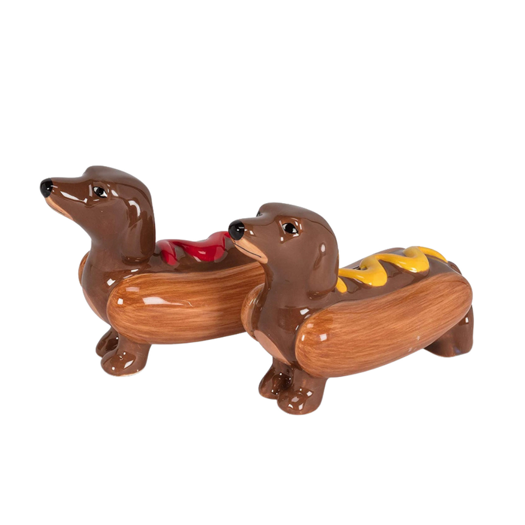 Hot Dog Salt and Pepper Shakers - Dachshund