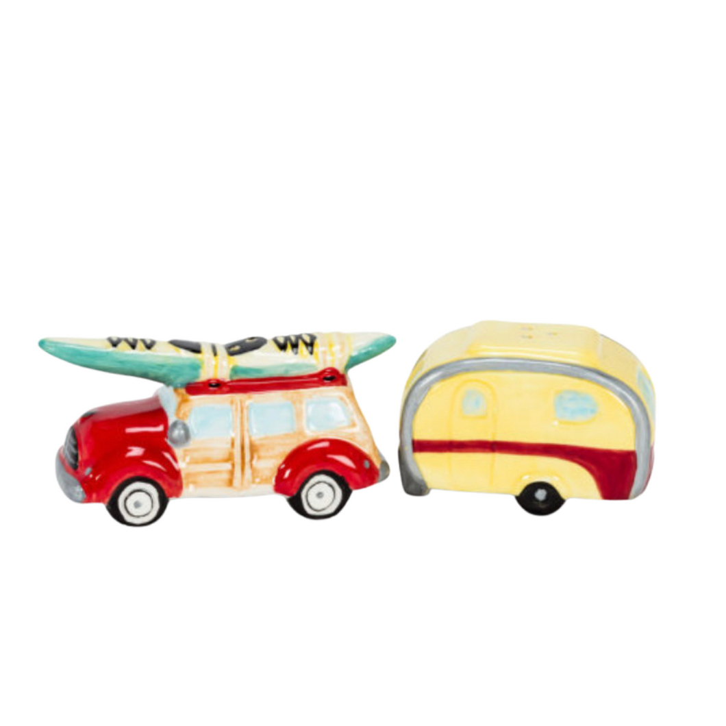 Car and Camper Salt and Pepper Shakers - Surfboard