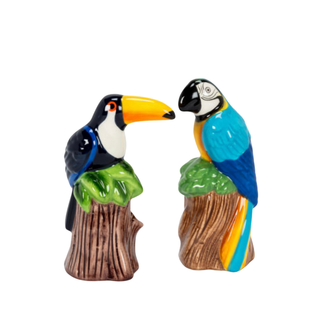 Toucan and Parrot Salt and Pepper Shakers
