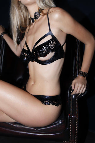 Godiva Latex Ouvert Bra - Black - Made to order