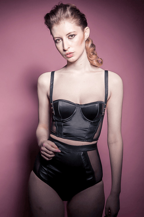 lola 'n' leather silk corset convertible bustier bra top and highwaisted knickers