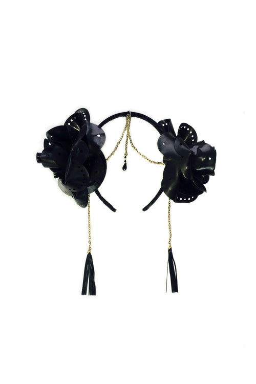 goddess garland headband and blindfold mask set, latex flowers, gold chain and tassels