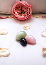 yoni egg trio, tao trio, yoni egg set, jade egg, rose quartz egg, obsidian egg, kegel exercises, pelvic floor training