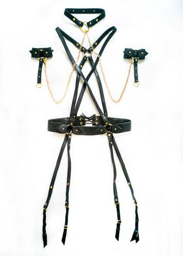 leather harness, leather collar, leather cuffs and gold chain, bondage set, bondage style lingerie