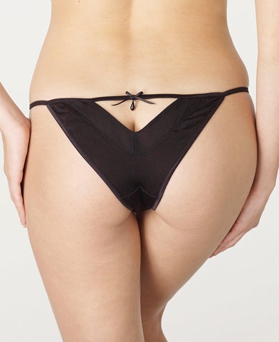 Sale Clearance Black Silk Jersey and Georgette Open Back Tanga