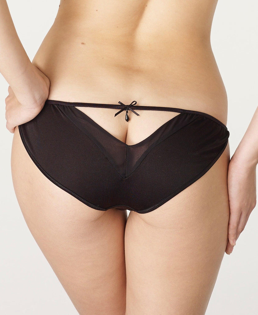 Sale Clearance Black Silk Jersey and Georgette full brief open back knickers