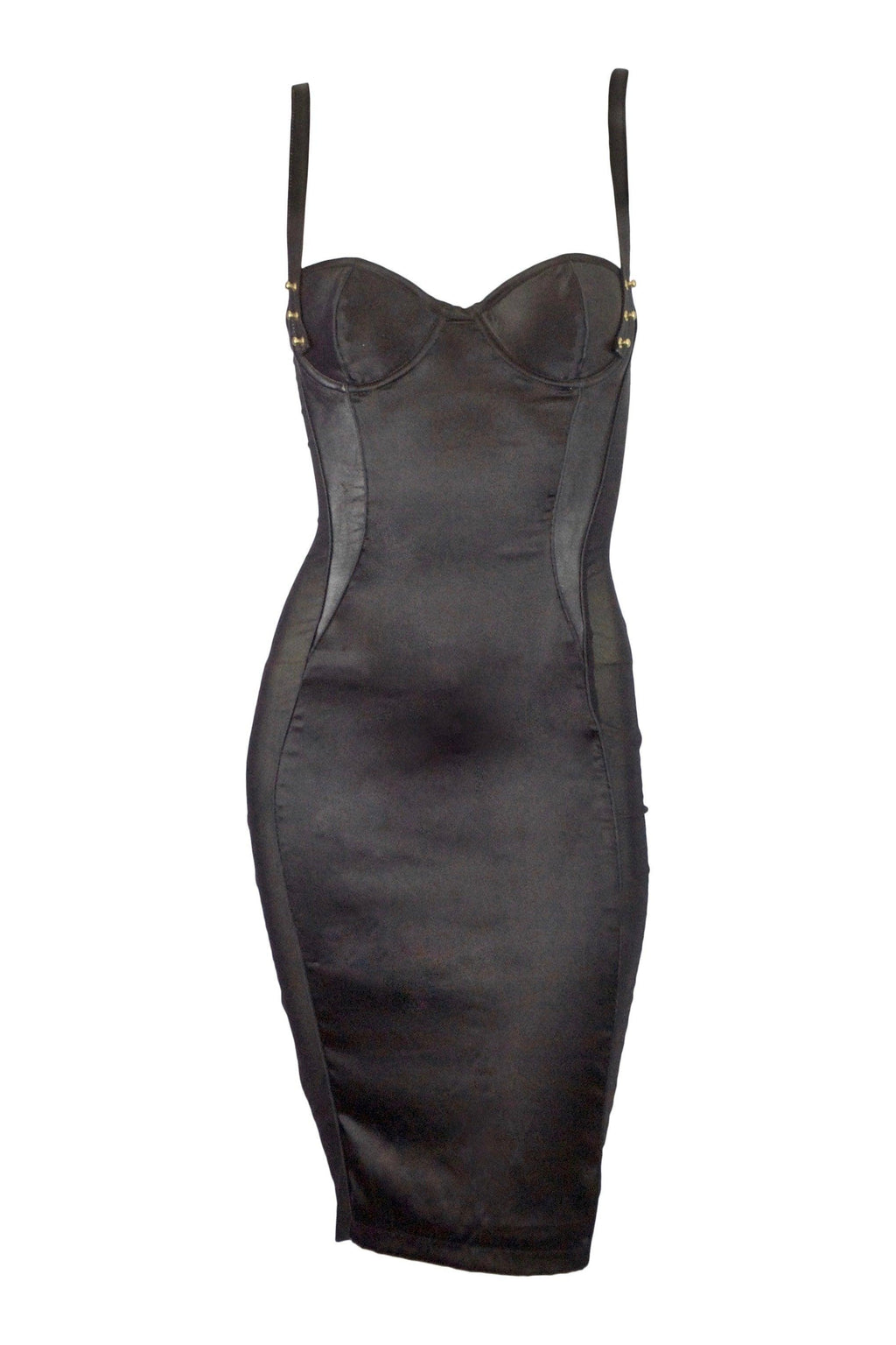 lola 'n' leather silk contour corset back dress