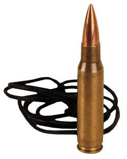 KombatUK 762 Bullet Leather Necklace - Brass