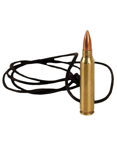 KombatUK 556 Bullet Leather Necklace - Brass