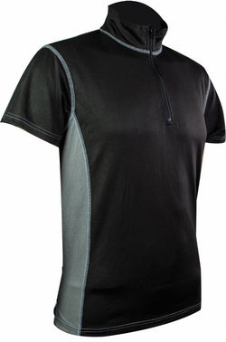 Highlander Black & Grey Pro Tech Zip Neck Mens T-Shirt