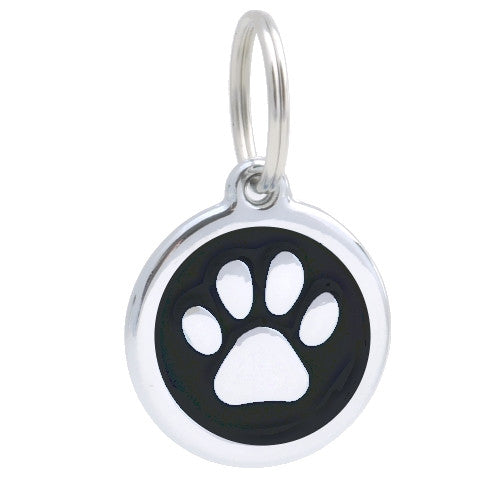 Smart Chrome Pet Id Tag Paw Black Pet Touchid