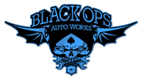 Black Ops Flyer Logo: Blue - Black Ops Auto Works