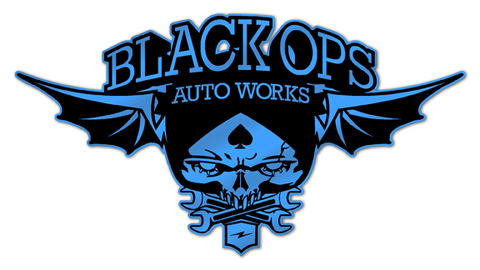 Black Ops Flyer Logo: Blue