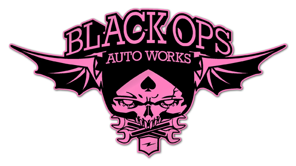 Black Ops Flyer Logo: Pink - Black Ops Auto Works