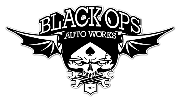 Black Ops Flyer Logo: WHITE - Black Ops Auto Works