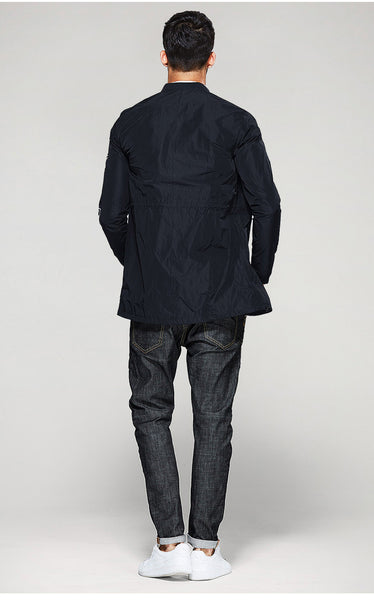 Stand Collar Long Coat - Manvsture