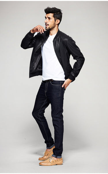 Casual Slim Fit Leather Jacket For Men - Manvsture