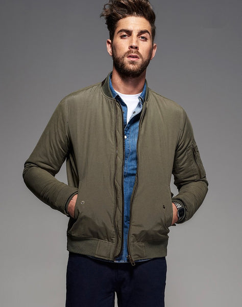 Army Green Bomber Jacket - Manvsture