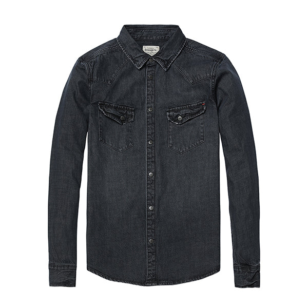 Turn-Down Collar Denim Shirt - Manvsture