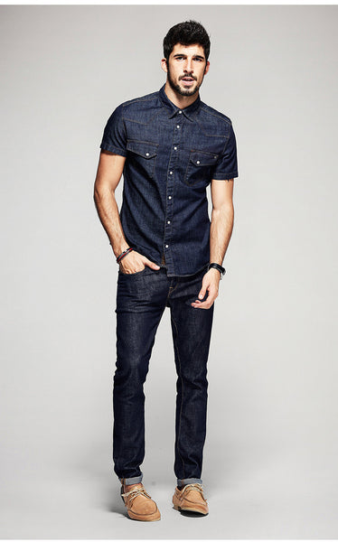 Casual Slim Fit Denim Shirt For Men - Manvsture