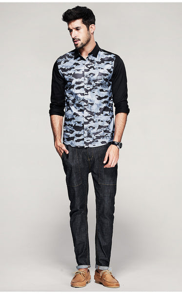 Single Breasted Camo Shirt - Manvsture