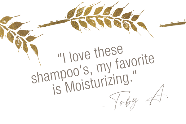 Testimonial, I love these shampoo's, my favorite is moisturizing. Toby A