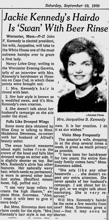 News article from 1960 titled Jackie Kennedy's Hairdo is 'Swan' With Beer Rinse