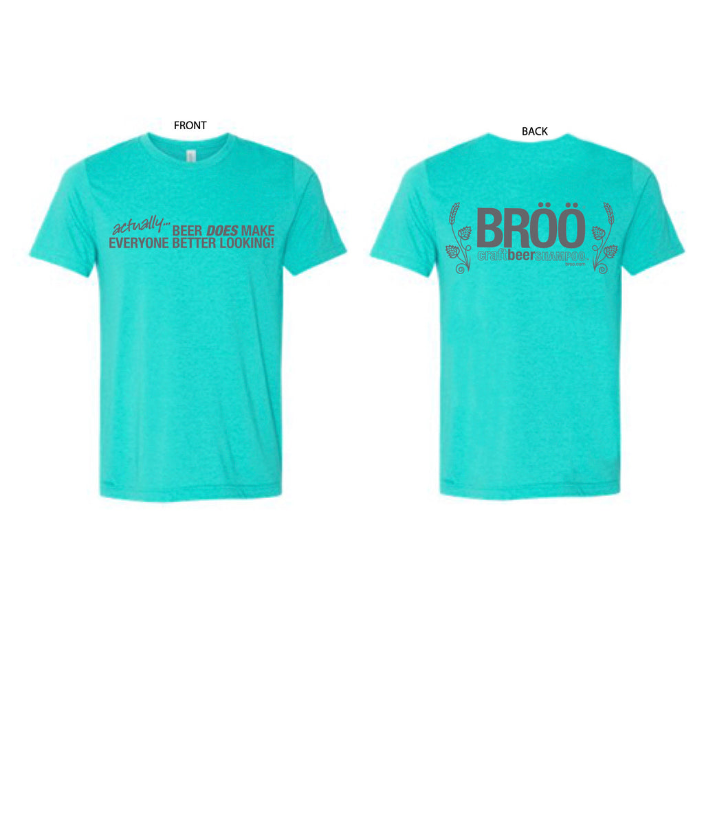 "BRÖÖ ""BEER HAIR T-Shirt in Turquoise, size XL"