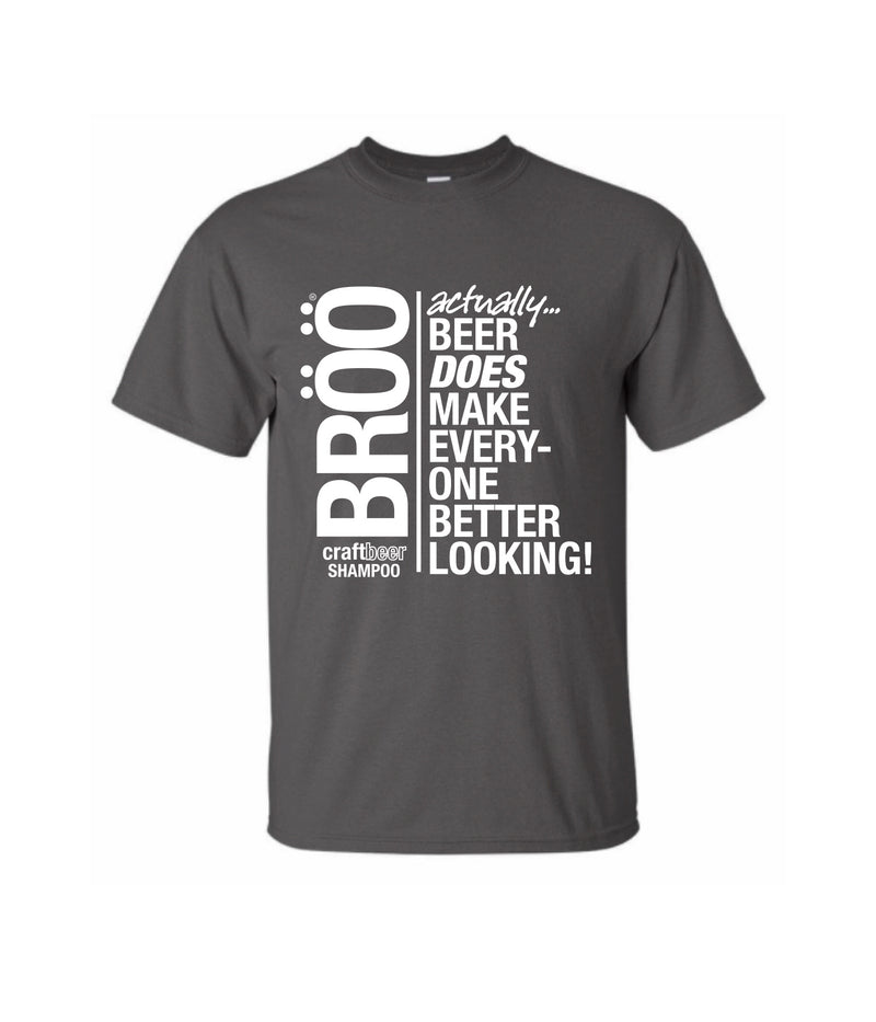 "BRÖÖ ""BEER HAIR T-Shirt in Grey, Small"