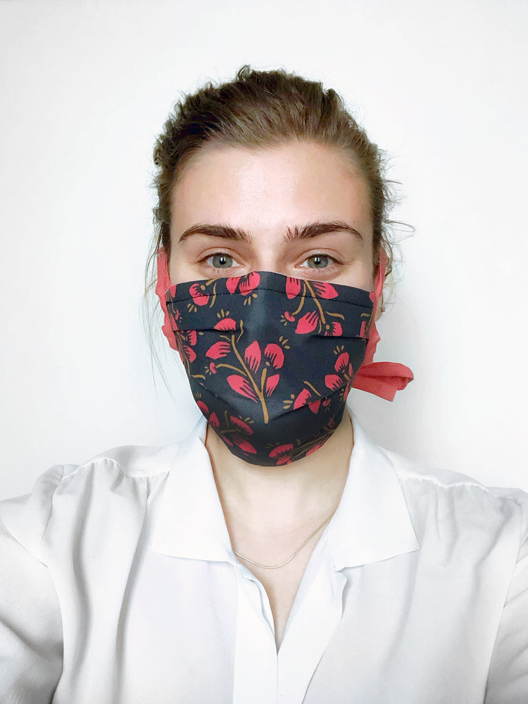 Red Floral Reusable Fabric Mask