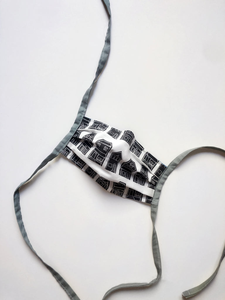 Black Row House Reusable Fabric Mask