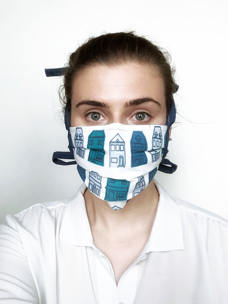 Blue Row House Reusable Fabric Mask