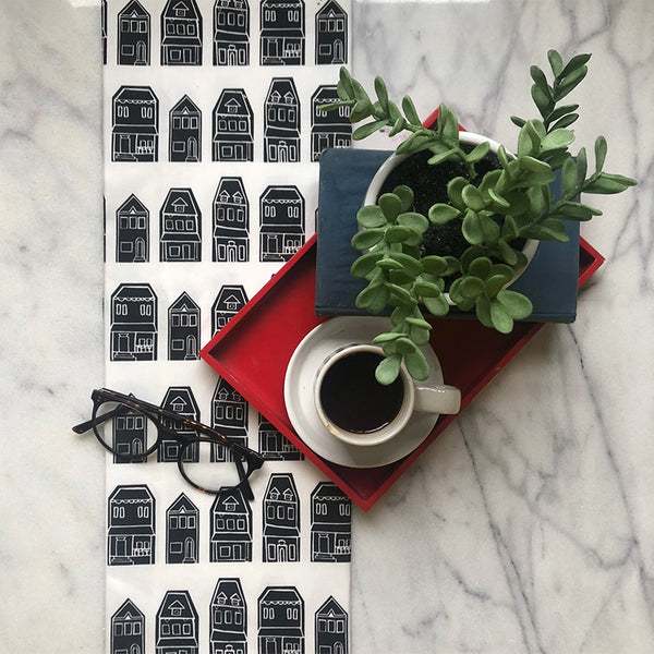 Row Houses - Black Tea Towel