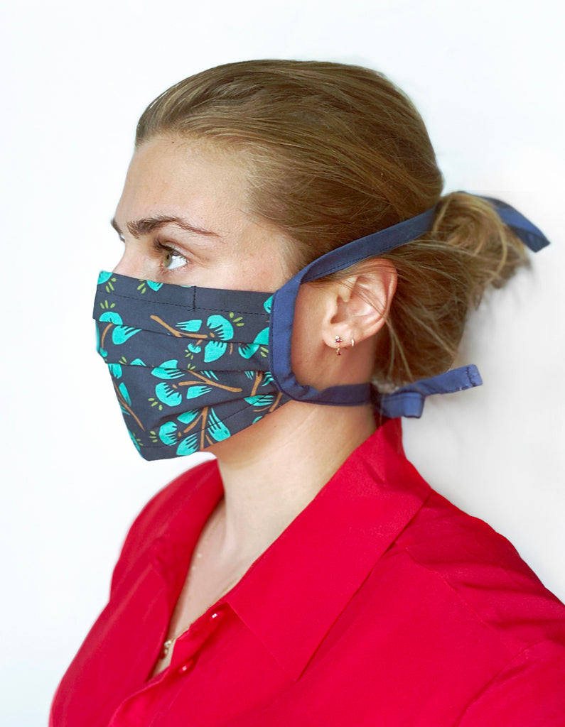 Teal Floral Reusable Fabric Mask