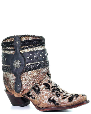 Decorated Flipped Shaft Ankle Boots