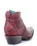 Women's Python Short Boots - Red