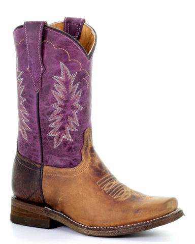 Kid's Two Toned Western Boots - Purple