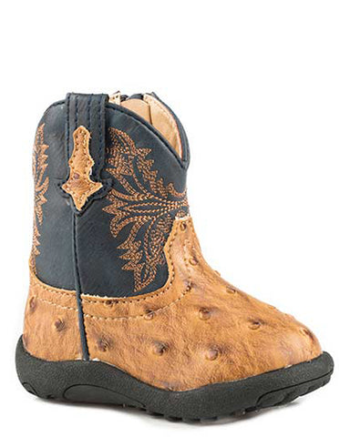 Infant's Cowbabies Cowboy Cool Ostrich Boots - Tan